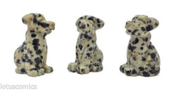 Dalmatian Jasper Miniature Dog Puppy Hand Carved Mini Gemstone Collection 477