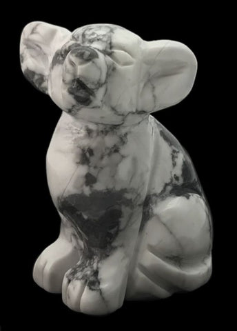 Dog Chihuahua White Howlite Hand Carved Gemstone Animal Totem Statue Stone