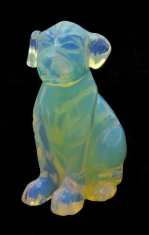 Dog Opalite Hand Carved Gemstone Animal Totem Statue Stone Sculpture