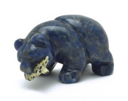 Blue Sodalite Bear with Dalmatian Jasper Fish Hand Carved Gemstone Animal Totem