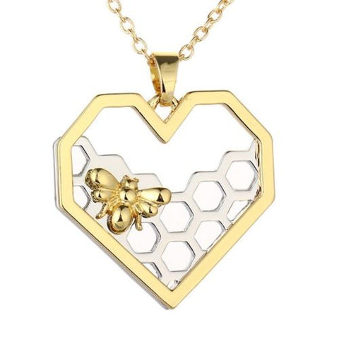 Gold Bee on Silver Honeycomb Heart Charm Pendant Necklace Jewelry Hexagon Hive
