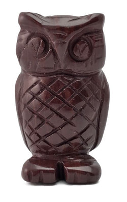 Owl Red Jasper Hand Carved Gemstone Animal Totem Statue Stone Sculpture
