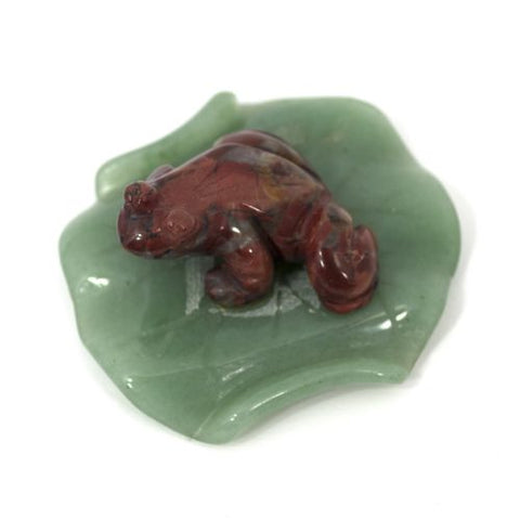 Red Jasper Frog on Aventurine Lilypad Hand Carved Gemstone Animal Totem Stone