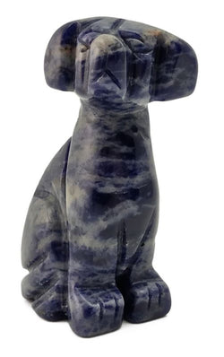 Dog Blue Sodalite Hand Carved Gemstone Animal Totem Statue Stone Sculpture