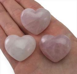 Lot of 3 Puffy Heart Rose Quartz Pocket Sized Hand Carved Gemstone Love Stone