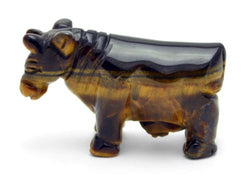 Cow Tigers Eye Hand Carved Gemstone Animal Totem Statue Stone Sculpture