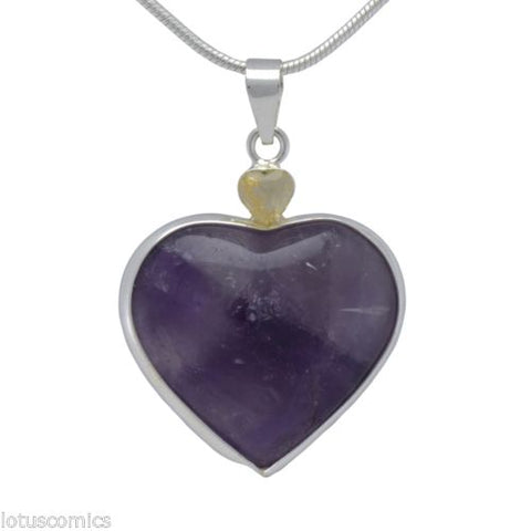 Purple Amethyst Heart with Citrine .925 Sterling Silver Pendant with Free Chain
