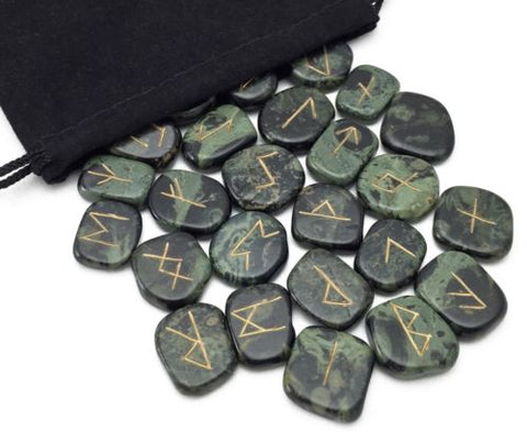Green Kambaba Jasper Elder Futhark Rune Set Hand Carved Gemstone Runic