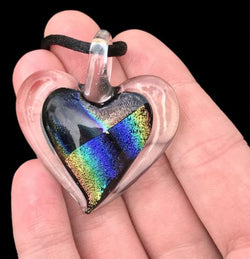 Dichroic Fused Glass Heart Pendant with Cord Mixed Colorful Rainbow Necklace B [HeartB3]