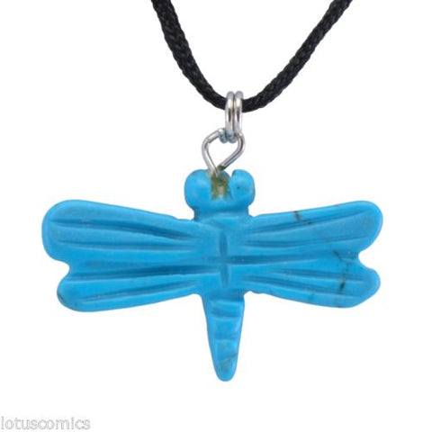 Dragonfly Turquoise Howlite Gemstone Pendant Hand Carved Stone Necklace