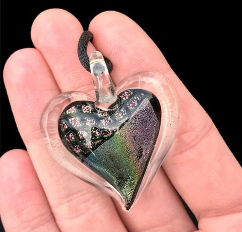 Dichroic Fused Glass Heart Pendant with Cord Mixed Colorful Rainbow Necklace B [HeartB2]