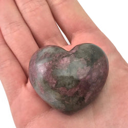 Puffy Heart Rhodonite Large Palm Hand Carved Gemstone Stone Love Crystal