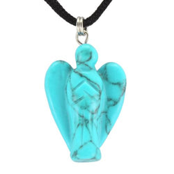 Angel Turquoise Howlite Gemstone Pendant Hand Carved Stone Necklace