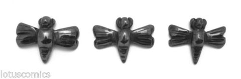 Lot of 3 Dragonfly Miniature Hematite Gemstone Hand Carved Mini Totems 273