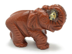 Elephant Goldstone with Dalmatian Jasper Log Hand Carved Gemstone Animal Totem