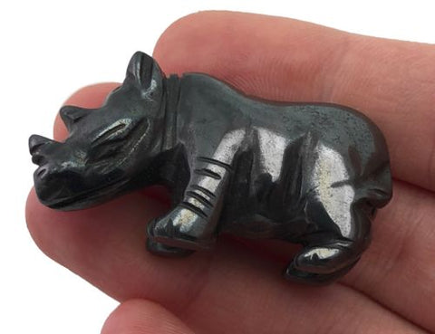 Rhino Hematite Hand Carved Gemstone Animal Tiny Totem Statue Stone