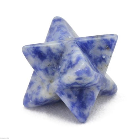 Dumortierite Gemstone Merkaba Ancient Sacred Symbol Hand Carved