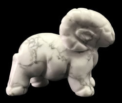 Ram White Howlite Hand Carved Gemstone Animal Totem Statue Stone Sculpture