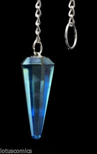 42 Ct Aqua Aura Real Quartz Pendulum Polished 6 Sides Hand Carved