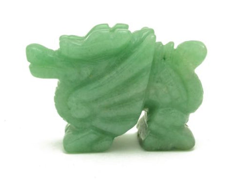 Winged Dragon Green Aventurine Hand Carved Gemstone Animal Totem Statue Stone