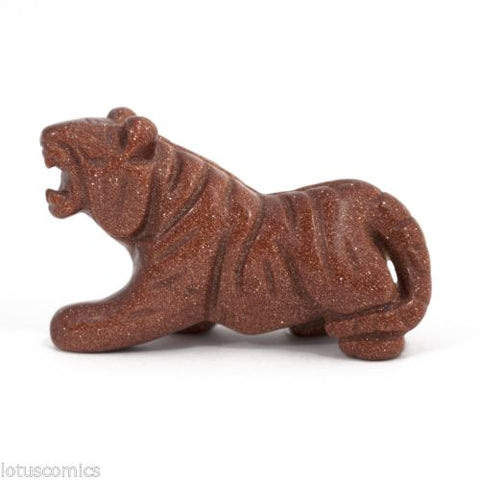 Tiger Red Goldstone Hand Carved Gemstone Animal Totem Statue Sculpture