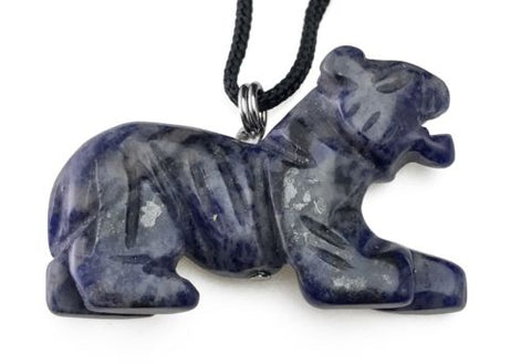 Blue Sodalite Tiger Pendant Hand Carved Gemstone Jewelry Necklace