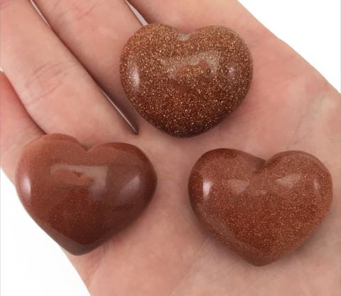 Lot of 3 Puffy Heart Goldstone Pocket Sized Hand Carved Gemstone Love Stone