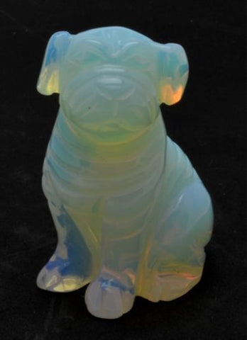 Pug Dog Opalite Hand Carved Gemstone Animal Totem Statue Stone Sculpture