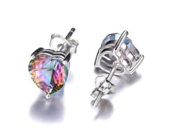 Genuine Rainbow Fire Heart Topaz Stud Earrings 925 SS Sterling Silver Jewelry