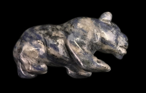 Walking Panther Hand Made Carved Gemstone Animal Tiny Totem Statue Figurine [Sodalite]