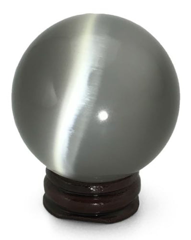 Silver Cat's Eye Fiber Optic Sphere with Stand Sacred Geometry