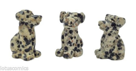 Dalmatian Jasper Miniature Dog Puppy Hand Carved Mini Gemstone Collection 478