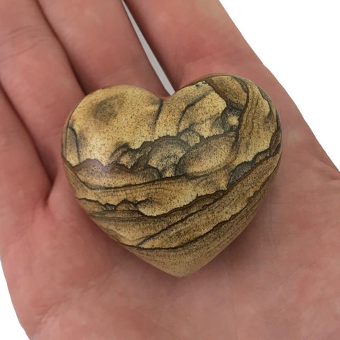 Puffy Heart Picture Jasper Large Palm Hand Carved Gemstone Stone Love Crystal
