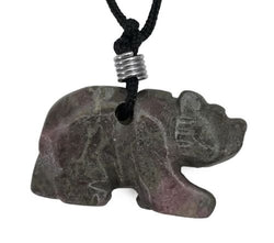 Bear Rhodonite Gemstone Pendant Hand Carved Stone Necklace