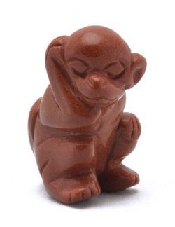 Monkey Red Goldstone Hand Carved Gemstone Animal Totem Statue Stone Sculpture