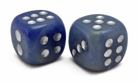 D6 Dice Pair Blue Chalcedony Gemstone Unique 6 sided Hand Carved Stone w Pouch