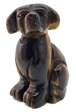Dog Tigers Eye Carved Gemstone Animal Totem Statue Stone Sculpture