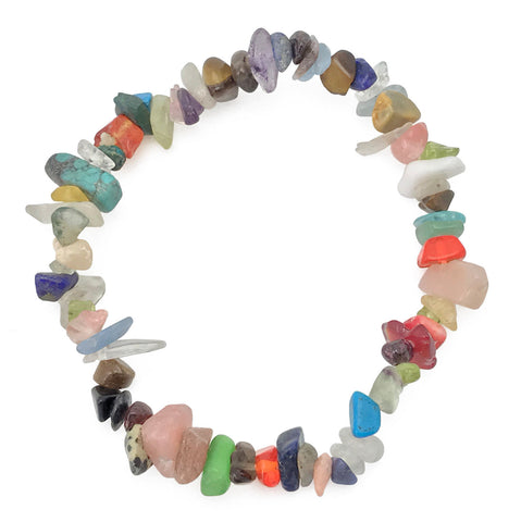 Gemstone Power Stretch Bracelet 22 Varieties Chip Stone Quartz Obsidian Jasper [Mixed Stones]