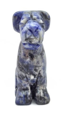 Airedale Dog Sodalite Hand Carved Gemstone Animal Totem Statue Stone