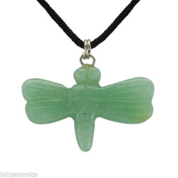 Dragonfly Green Aventurine Gemstone Pendant Hand Carved Stone Necklace