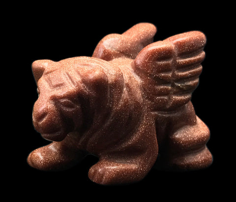 Flying Lion Hand Made Carved Gemstone Animal Tiny Totem Statue Figurine [Goldstone]