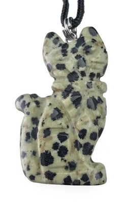 Dalmatian Jasper Cat Pendant Hand Carved Gemstone Jewelry Necklace