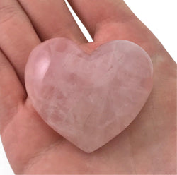 Puffy Heart Pink Rose Quartz Large Palm Hand Carved Gemstone Stone Love Crystal