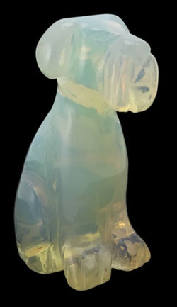 Dog Airedale Opalite Hand Carved Gemstone Animal Totem Statue Stone Sculpture