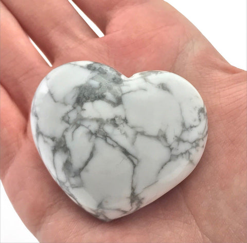 Puffy Heart White Howlite Large Palm Hand Carved Gemstone Stone Love Crystal