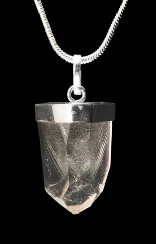 Phantom Clear Quartz Crystal Point 925 SS Sterling Silver Capped Pendant #2