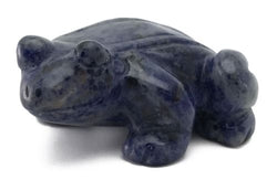 Frog Blue Sodalite Hand Carved Gemstone Animal Totem Statue Stone Sculpture
