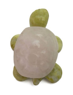 Turtle Rose Quartz and Serpentine Hand Carved Gemstone Animal Tiny Totem Statue