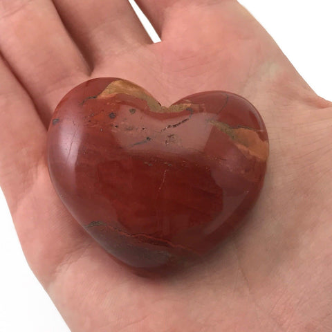 Puffy Heart Red Jasper Large Palm Sized Hand Carved Gemstone Stone Love Crystal