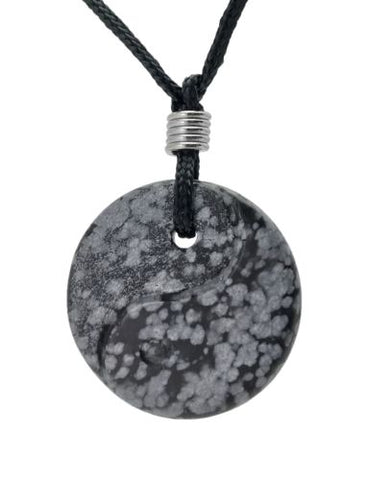 Yin Yang Snowflake Obsidian Gemstone Pendant Hand Carved Stone Necklace Jewelry